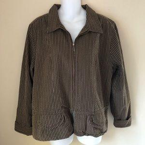 Christopher & Banks Brown Striped Jacket XL